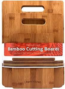 Bamboo Cutting Board 3pc set (3-pc Set) - By Utopia Kitchen