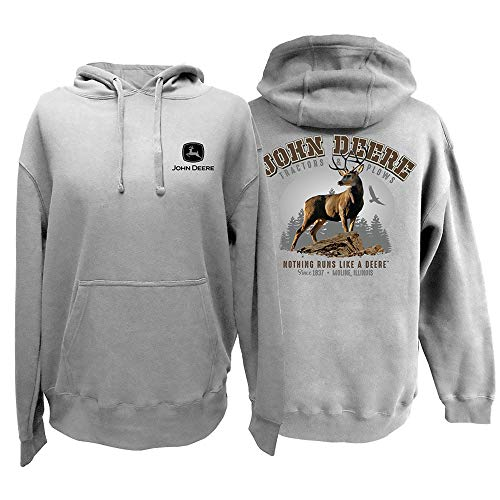 John Deere Men's Mountain Deer Pullover Hoodie-Oxford-XXL