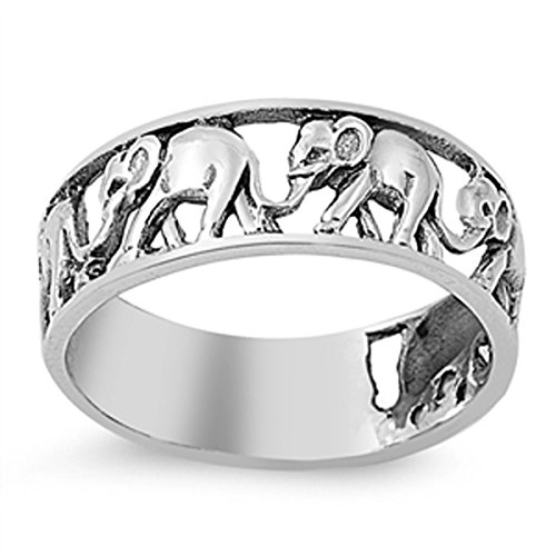 Sterling Silver Women's Circus Elephant Ring (Sizes 4-13) (Ring Size 10)