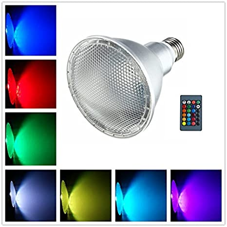 Led Light Bulb E27 10W PAR30 RGB Dimmable Spotlight 16 Color Changing With  IR Remote Control