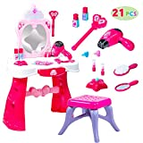 Fantasy Vanity Beauty Dresser Table Play set with Lights, Sounds, Chair, Fashion & Makeup Accessories for Kid and Toddler Pretend Play, Children Christmas Holiday Toy Gift, Xmas Present Under the Tree