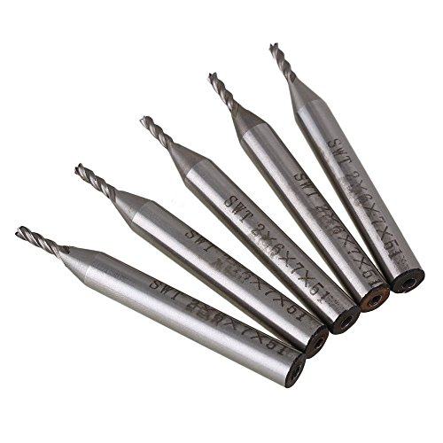 CNBTR Solid Carbide High-Speed HSS 4 Flutes Straight Shank Milling Cutter End Mill with 2mm Cutting Dia Pack of 5