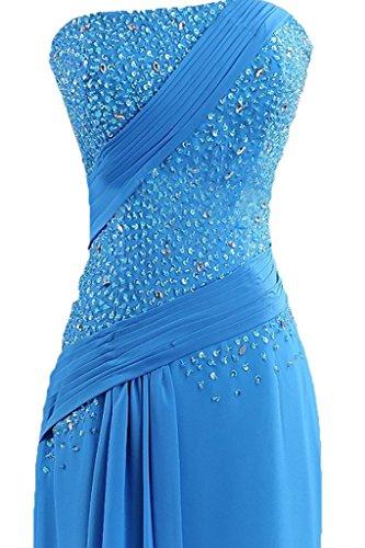 vestito ball Chiffon Prom Pietre da Fest Donna abito abito Elegante ressing Spalline abito partito sera del ivyd Senza vestito Blau lungo q0FawYO