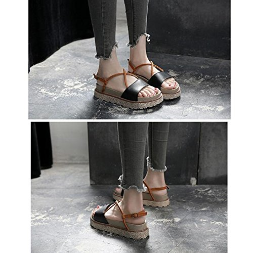 Tamaño 2 de de zapatos verano colores gruesa cm EU37 4 UK4 plataforma 5 Sandalias Blanco con 235 CN37 4 plano de femeninas Negro moda retro Zapatos Color LIXIONG simple altura fondo qwXngaHxx