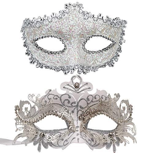 Couple Masquerade Mask Women Men Mardi Gras Mask Costume Masks for Christmas Festival New Year Party (White) ()