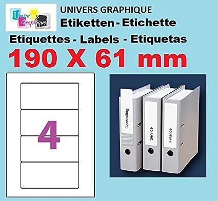 100 A4 hoja 4 pegatina 190 X 61 mm etiqueta adhesiva ...