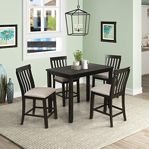 5-Piece Counter Height Dining Set, Wood Dining Table and 4 Chairs, with Upholstered Seat and Footrest, Grey Wash Oak