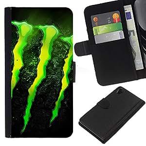Sony Xperia Z2 D6502 D6503 D6543 L50t L50u , la tarjeta de Crédito Slots PU Funda de cuero Monedero caso cubierta de piel (Monster)