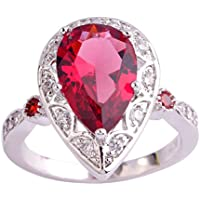 Ransopakul AAA Ruby Spinel & White Topaz Gemstone Silver Ring Water-Drop (9)