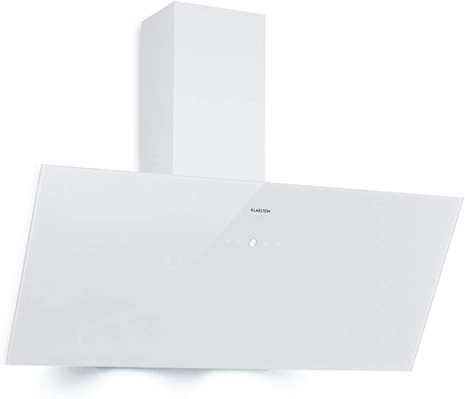 Klarstein Laurel 90 campana extractora - inclinado, 90 cm, absorción de 350 m³/h, clase B, iluminación de fogones LED, Panel táctil, filtro de grasa de aluminio, 64 dB, extractor de pared, blanco: Amazon.es: Hogar