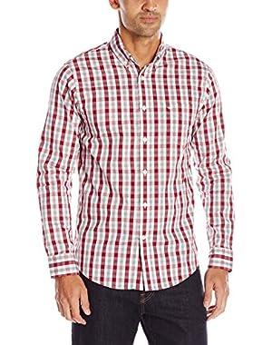 Men's Long Sleeve 2 Plaid Comfort Stretch Woven Shirt