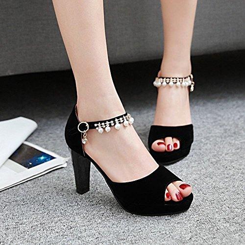 MissSaSa Damen high heel ankle-Strap peep toe Pumps mit künstlich Perlen Schwarz(Nubuck)