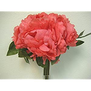 CORAL Hand Tied Peonies Roses Bridal Wedding Bouquet Artificial Silk Flower 740-CL 36