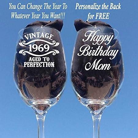 Copas de vino grabadas para regalo de 50 cumpleaños para ...