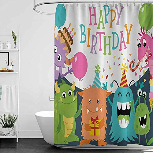 home1love Bathtub Splash Guard,Kids Birthday Little Baby Monsters with The Party Cones Confetti Rain and Balloons Image,goof Proof Shower,W108x72L,Multicolor