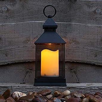 Festive Lights - Farol LED para jardín (Funciona con Pilas, para Interiores y Exteriores, 24 cm), Color Negro: Amazon.es: Jardín