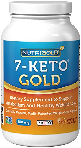 Nutrigold 7-Keto 100mg, 120 Vegetarian Capsules (Recommended as #1 in Belly-Blasting Weight-Loss Supplements)