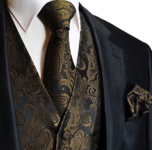 Men's 3pc Paisley Design Dress Vest Tie Handkerchief Set For Suit or Tuxedo (XL (Chest 46), ()