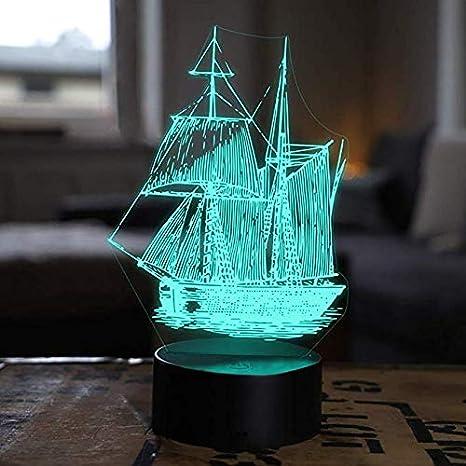 Jinson well 3d Velero Barco lámpara de mesa luz nocturna cambio ...