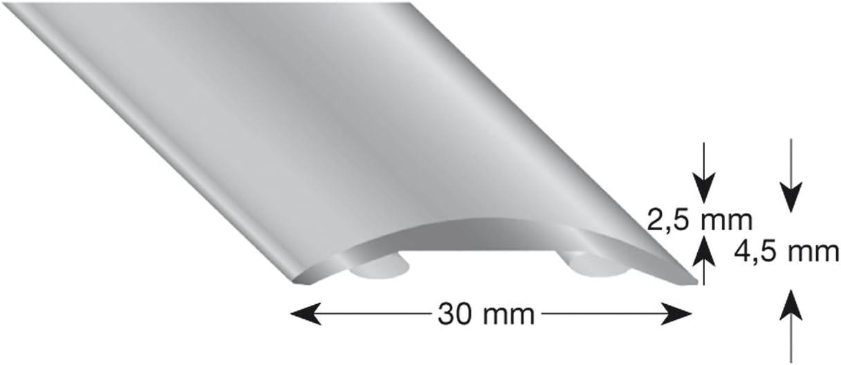 Plata 100cm color plateado aluminio, anodizado, 30//1000 mm K/ügele 503 S 100 Perfil plano hueco