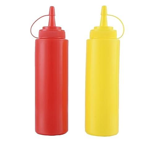 Set de 2 botellas de salsa de plástico Squeeze condimento Dispensador de recipiente para mostaza Ketchup