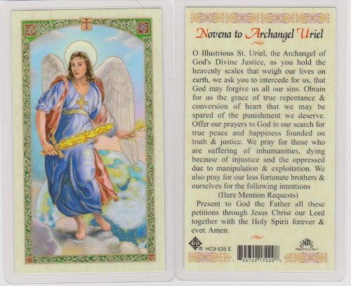 Guardian Angel Holy Card (Saint Uriel Holy Card Cromo NB with Free Cross)