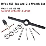 Ahile-shop 10 PCS M4-M8 HSS Thread Tap Round Metric Dies Reversible Wrench Die Socket Handle Tool Kit Set