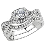 FlameReflection Stainless Steel Halo Rings Women Infinity Round Cubic Zirconia Wedding Ring Set Size 7