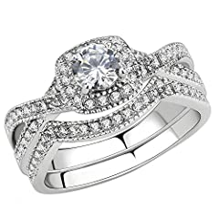 Stainless Steel Women's Infinity Wedding Ring Set Halo Round CZ Cubic Zirconia Engagement Band Bridal Jewelry Sets  Is cubic zirconia worth anything? Cubic zirconia simulants are - of course! - much, much more affordable than real diamonds. A...