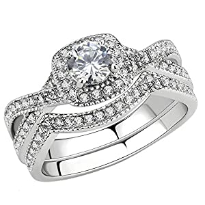 FlameReflection Stainless Steel Rings for Women Infinity Wedding Set Round CZ Cubic Zirconia Wedding Sets for Women Halo…