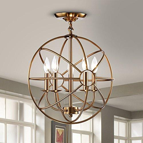 Jojospring Benita 5-light Polished Brass Metal Strap Globe Flush Mount (Classic Polished Brass Chandelier)