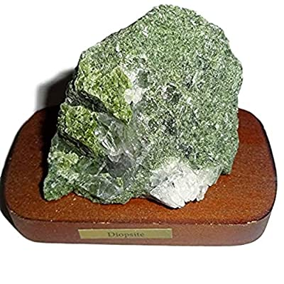1pc Diopside Raw Natural Rough / Crystal Healing Gemstone Collectible Display Specimen on Wood Base Stand: Toys & Games
