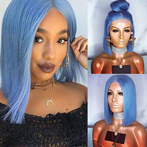 Party Queen Short Bob Hair Wigs with Middle Part Heat Resistant Fiber Synthetic Hair Wigs Natural Looking Light Blue Wigs with Baby Hair Realistic Glueless Lace Front Wigs for Women]()