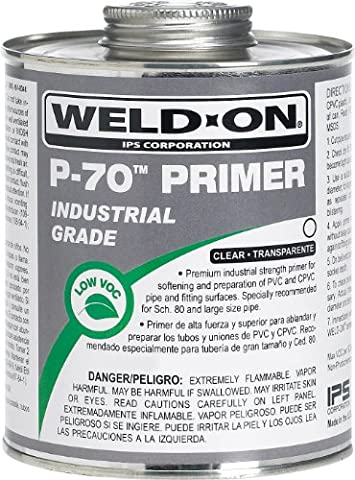 Weld-On 10226 P-70 Clear PVC/CPVC Primer, Low-VOC, 1/2 pint Can with Applicator Cap, Metal Can (Premium Pvc)