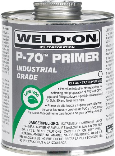 Weld-On 10226 P-70 Clear PVC/CPVC Primer, Low-VOC, 1/2 pint Can with Applicator Cap, Metal - Pipe Pvc Ips