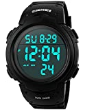 PASOY Men Women Digital Watch Big Dial Light LED Swim Waterproof Rubber Band Alarm Black LED Watches 50MM (black)