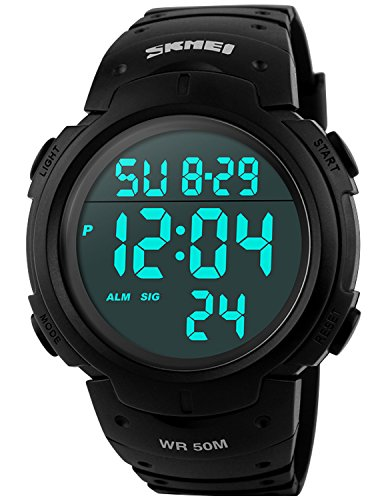 PASOY Men Women Digital Watch Big Dial Light LED Swim Waterproof Rubber Band Alarm Black LED Watches 50MM (Lady Military Watches)