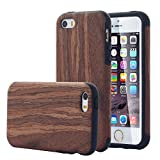 iPhone SE Case, iPhone 5 SE Case, Pandawell™ [Slim Matte] [Shock Absorbing] Flex TPU Non Slip Wood Tactile Extra Grip Rubber Bumper Cover for Apple iPhone SE / iPhone 5 SE - Rose Wood
