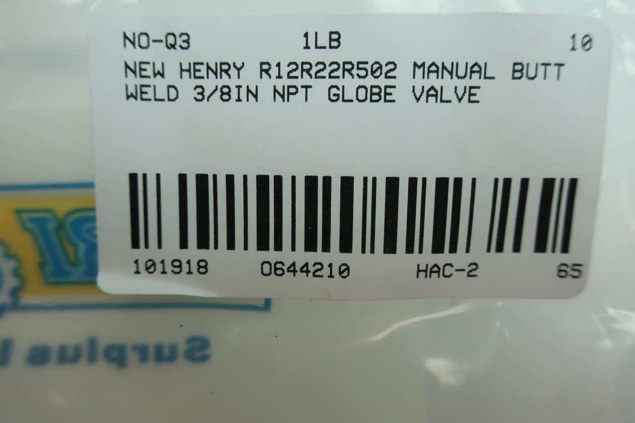 HENRY 6233 PACKLESS Shut-Off Valve 1//2IN D644210