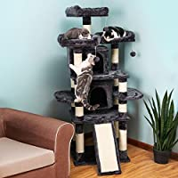 SONGMICS Large Cat Tree Condo with Scratching Post Pad Cat Tower Furniture House Grey UPCT18G