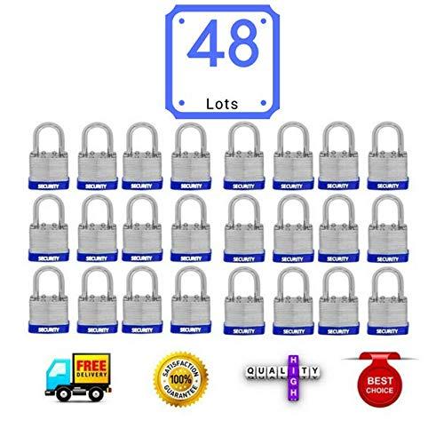 (48 PC padlocks keyed alike 48-pack LAMINATED PADLOCK 40MM KEY ALIKE SHORT SHACKLE COMMERCIAL GRADE SECURITY PAD LOCKS PADLOCK KEYED THE SAME A LIKE)