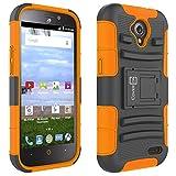 ZTE Allstar Phone Case, ZTE Stratos Case, CoverON [Explorer Series] Holster Hybrid Armor Belt Clip Hard Phone Cover for ZTE Stratos/Allstar Holster Case - Neon Orange & Black