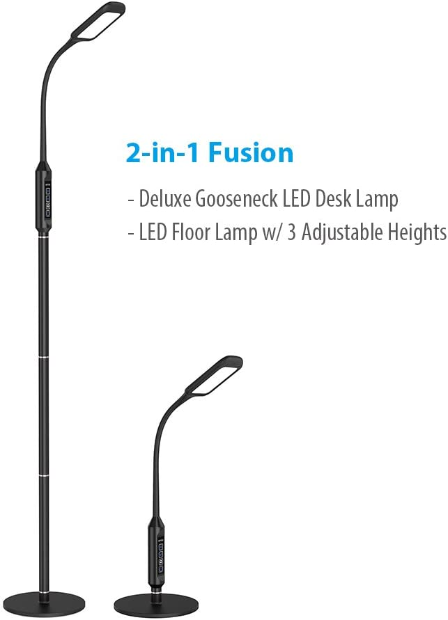TROND LED Floor Light Gooseneck Floor Lamp for Reading, Crafts, Crocheting, Knitting, Sewing or Makeup (5 Color Temperatures, 5 Level Dimmable, 30 Min
