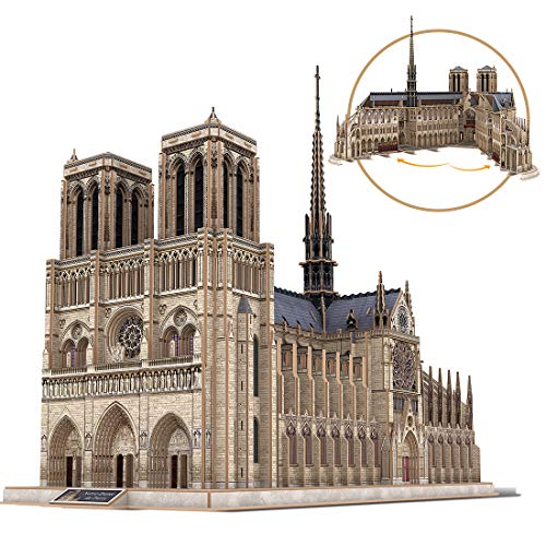 Cubicfun 3D Puzzles Moveable Architecture Model Large Notre Dame de Paris French, Challenge for Adults Children, Cathedral Architecture Church Building Model Kits, 293 Pieces