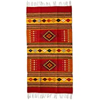 NOVICA Red Geometric Zapotec Wool Area Rug (2.5 x 5), Red Mexican Chrysanthemum