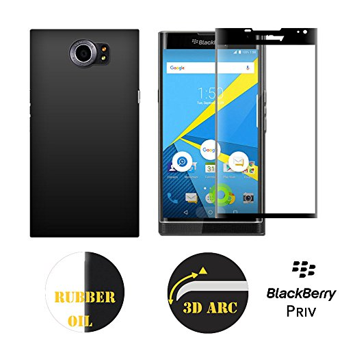 Blackberry priv tempered glass and case,Kupx 3d arc full screen tempered glass with black silkscreen and Blackberry priv case cover with rubber oil treatment color black