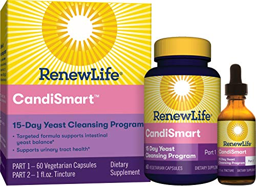 Renew Life Adult Cleanse  CandiSmart  15Day Yeast Cleansing Program  2Part Kit  Gluten amp Dairy Free  60 Vegetarian Capsules  1 Fl Oz Tincture Packaging May Vary