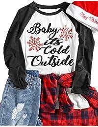 NANYUAYA Women Christmas Plus Size Baby It's Cold Outside Funny Baseball T-Shirt