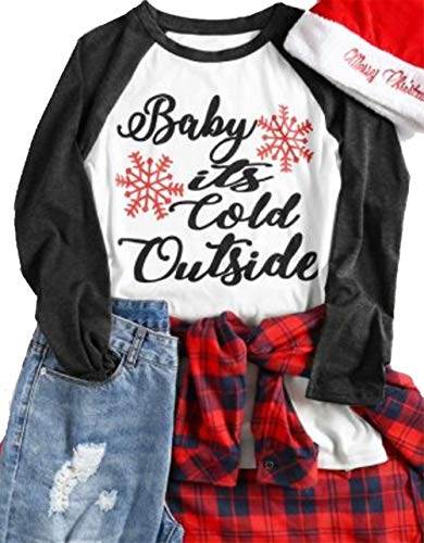 - MNLYBABY Plus Size Baby It's Cold Outside Baseball T-Shirt Women Christmas Snowflake 3/4 Sleeve Raglan Top Tees Size XXXL (Gray)