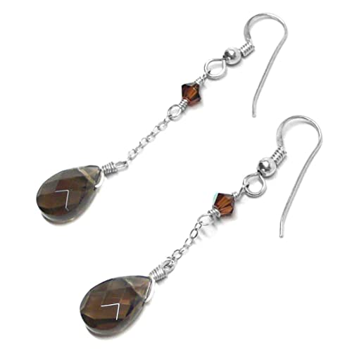 6021ed13a Image Unavailable. Image not available for. Color: Created Smoky Quartz  Briolette Sterling Silver Chain Dangle Earrings Swarovski Crystal Custom